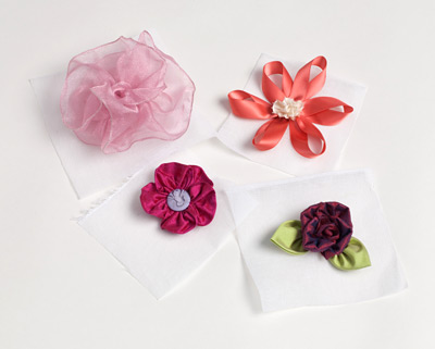 Fabric and Ribbon Flowers on Crinoline