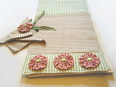 Striped Ticking Table Runner, Napkin and Napkin Holder